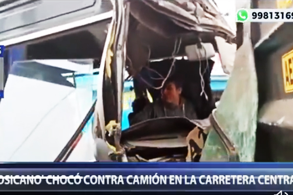 CHOSICANO IMPACTA CONTRA CAMIÓN EN LA CARRETERA CENTRAL [VIDEO]